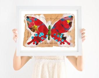 Nursery Art Boho, Red Butterfly, Gender Neutral Nursery, Printable Wall Art, Girls Nursery Art, Boys Nursery Art