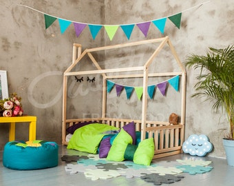 Baby room baby bed Home bed FULL/DOUBLE House bed Montessori toy Wooden bed Kids nursery bed Kids teepee Montessori bed toddler bed frame
