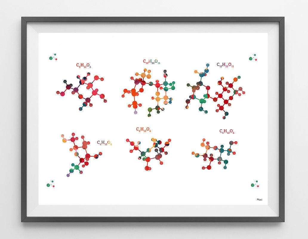 Carbohydrates watercolor print carbohydrates chemical formula