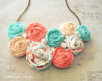 Coral &Mint Rosette Necklace,Rosette Necklace,Rosette Statement Necklace,Rosette Bib Necklace, Rosette Jewelry,Bridesmaid Necklace,Rosettes