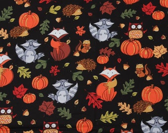 100X140CM/39X55 Inch Halloween's Day Pumpkin Fox Owl Squirrel Hedgehog Cotton Poplin Fabric