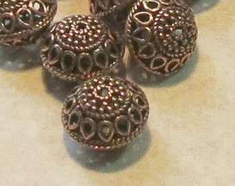 Copper Beads - Copper Filigree - Saucer Bead - 11X14mm - Bali Style - Six Pieces