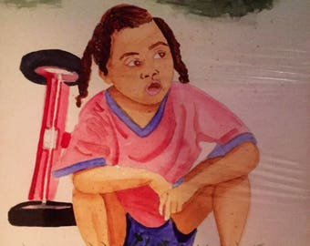 Vintage 80s original African American Girl Watercolor painting in Mat Board signed