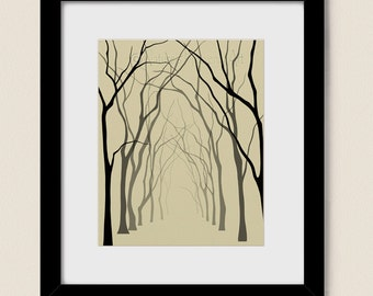 Bare Winter Tree Wall Art 8 x 10 Print, Tan Home Office Decor, Modern Living Room and Dining Room Art (274)