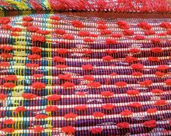 Patriotic red white blue rag rug