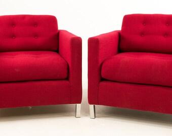 Midcentury Club Chairs Original Vintage Wool