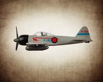 Vintage WWII Japanese Zero Fighter  on Vintage Brown Background, Photo Print, Boys Room, Boys Nursery Decor, Airplane Room