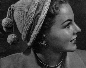 Perky Pom-Poms - Vintage 40s 50s Knitted Hat Pattern - PDF eBook