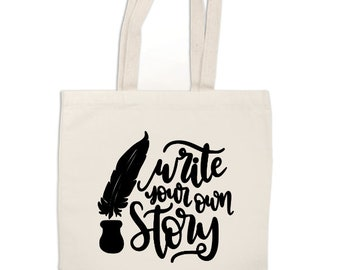 Write Your Own Story Canvas Tote Bag Market Pouch Grocery Reusable Recycle Go Green Eco Friendly Jenuine Crafts