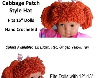 """MADE TO ORDER Cabbage Patch Styled Hat Hand Crocheted by Made Magical for 15"""" Soft Body Dolls"""