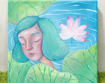 Original Painting | Girl with Lotus