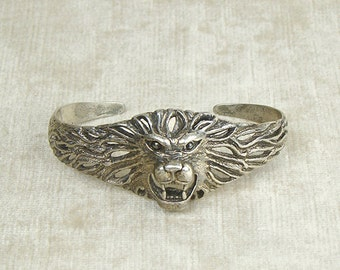 Vintage 980 silver Lion cuff bracelet, figural, roaring 3 dimensional head with openwork mouth and mane, sharp teeth, chased, animal