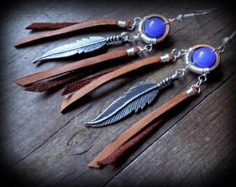Leather tribal feather earrings, native indian style jewelry, southwestern earrings, rustic earrings earthy boho jewelry country girl