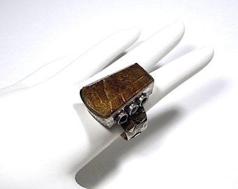 Huge Vintage Golden Rutilated Quartz Gemstone 925 Sterling Silver Ring size 9