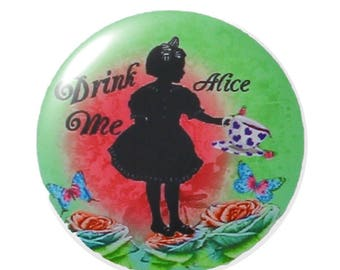 Set of 2 20mm round Alice glass cabochon