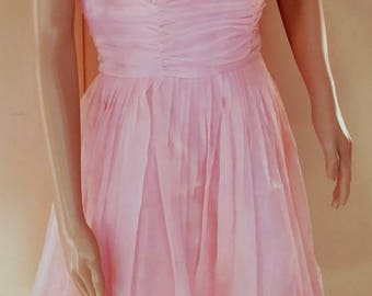 Vintage 60s Pink Chiffon Party Dress FREE SHIPPING