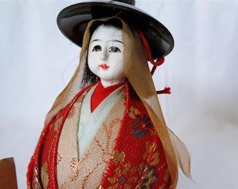 VJ4 : Ichimatsu mini doll,Vintage japanese small Ichimatsu doll on stand,signed,hand made in Japan