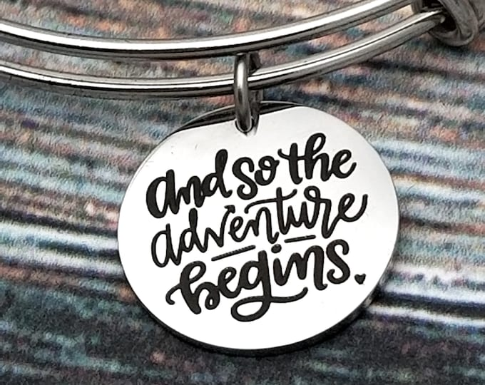 And so the adventure begins Customizable Expandable Bangle Charm Bracelet, graduation, new job, marriage, relocation, new baby, engagement