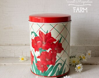 Vintage Red Floral DaffodilTin Metal Cannister ~ Litho ~ Country Cottage Retro Chic
