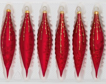 "Navidacio 6 pcs. Glass Ice Drops in ""Ice Red Gold"" Drops New"