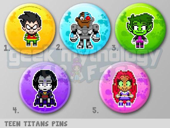 Teen Titans Pixel Art 1 5 Pin Button Or Magnet Robin