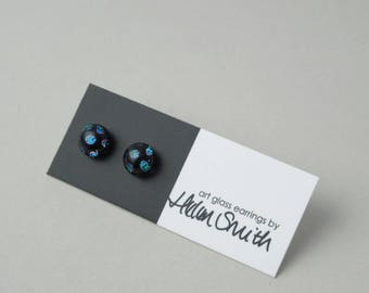 Blue spot dichroic glass earrings, fused glass and sterling silver stud earrings