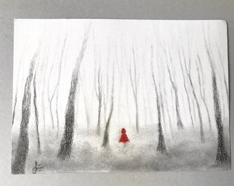 Red Riding Hood, Original Artwork, red riding hood painting, Little Red, Red Cape, Little Red Riding Hood, Misty Forest, Red Ridinghood, Red