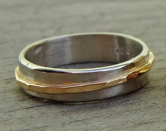 Recycled 14k Yellow Gold and Recycled 950 Palladium Asymmetrical Two Tone Wedding Band, Made to Order