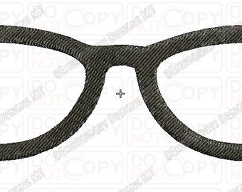 Glasses 3 Full Stitch Embroidery Design in 3x3 4x4 and 5x7 Sizes