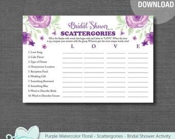 Bridal Shower Scattergories Game, Purple Watercolor Floral, Printable, Instant Download, Flowers, Bridal Activity, Printable Bridal, 007A