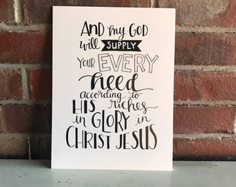 And my God will supply your every need Print
