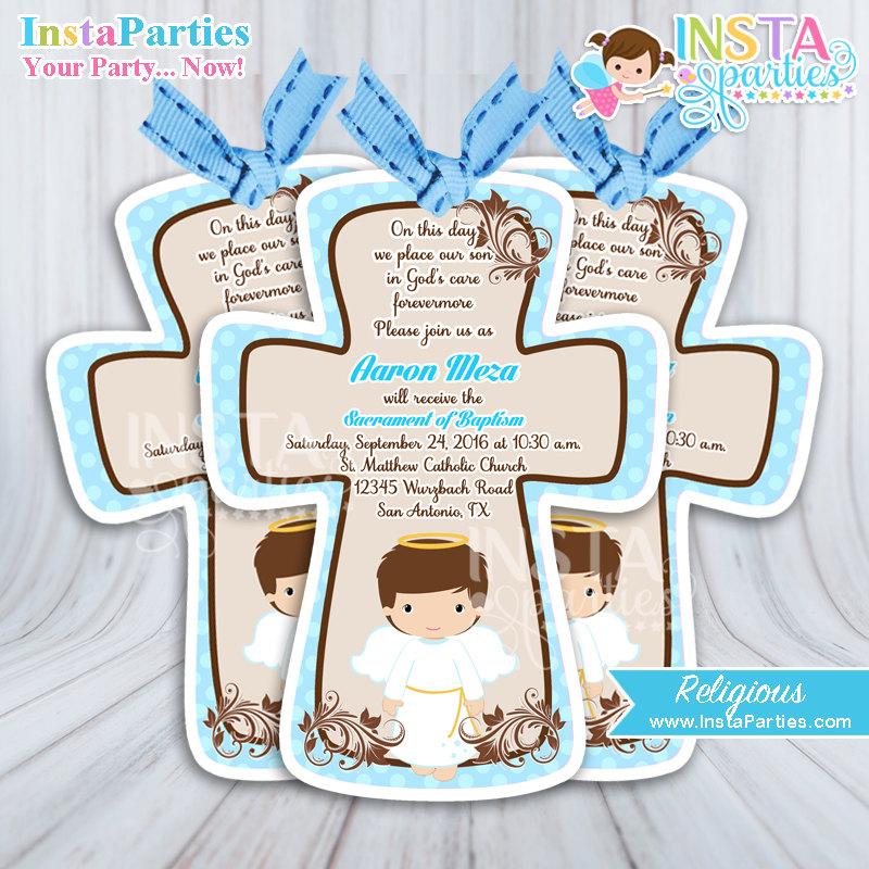 Baptism invitations boy invitation first communion cross brown zoom stopboris Choice Image