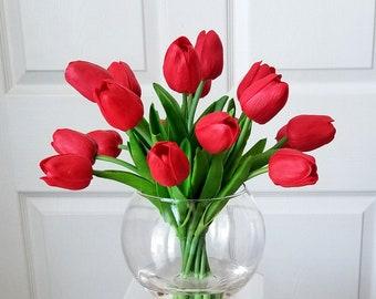 Table Arrangement-Red Tulips Arrangement-Real Touch Flowers Centerpiece-Faux Floral Arrangement-Silk faux arrangement