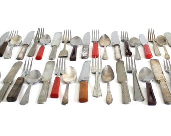 Rustic Mismatched Flatware Set Stainless Silverplate Nickel Silver Bakelite Plastic Wood Handle Cabin Decor, service for 4: fork knife spoon