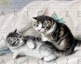 Lovely Kitten Playful Tabby Cats Vintage Illustration. Victorian Cat Painting. Digital Cat Download. Vintage  Cat Art Print.