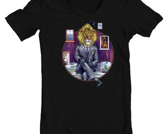 "T-Shirt - Surreal Art T-Shirt - Wearable Art - Black Tee - ""Through the Looking Glass"" design by Black Ink Art"