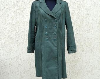 Womens Trench Coat Marching band coat Lining Double Breasted Coat Khaki Green Plaid Jacket Large Size