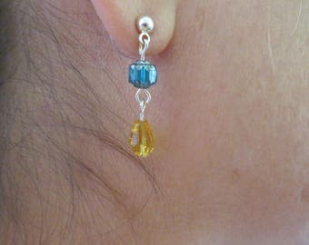 Blue and yellow glass drop earrings