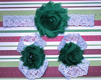 Green on White Christmas barefoot sandals with headband