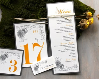 Yellow Wedding Decor, Boho Wedding Decor, Wedding Menu Card, Table Numbers, Personalized Placecards - Vintage Yellow Deposit