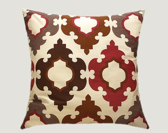 """Decorative Pillow case, Home Decor Designer Off White fabric with patterns Throw pillow case, fits 18"""" x 18"""" insert, Cushion case"""