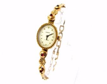 Ladies Wrist Watch Ladies Wrist Chaika USSR Gildet Women's Watch Seagull Unique Women Watch Bracelet Watch 1980s Gold plated Women watch