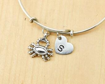 Crab Bangle, Sterling Silver Bangle, Crab Bracelet, Expandable Bangle, Personalized Bracelet, Charm Bangle, Initial Bracelet,Bridesmaid gift