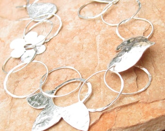 Sterlig Silver Necklace Full of Shapes.Hoops Necklace.Sterling Silver unique necklace.925 chain.Hand Made necklace.Israeli jewelry