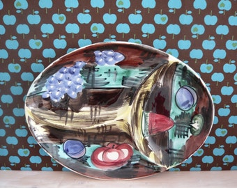 Italian Mid Century  Kitchen Hors D'Oeuvre Dish / Tray / Plate / Platter Cheese and Wine Party 1950's Retro Vintage