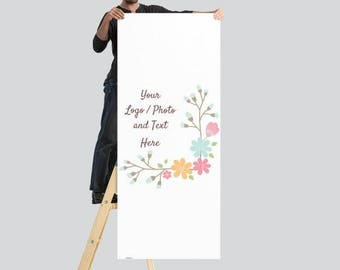 2.5' x 6' Large Vertical Banner Stand Use Own LOGO or PHOTO Design Custom Personalized Stand Option Available