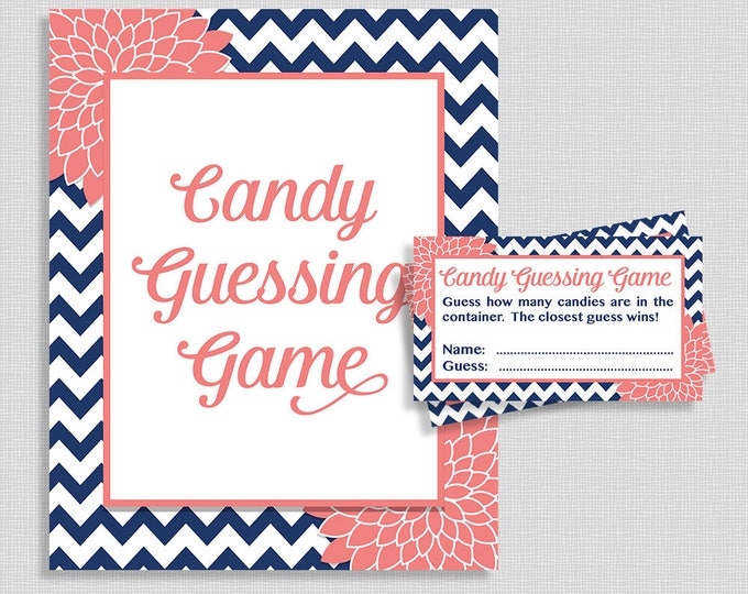 Candy Guessing Shower Game, Navy and Coral Mums, Guess How Many Candies, M&M's, Jelly Beans, etc., INSTANT PRINTABLE