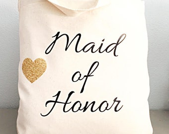 Maid of honor tote - Natural bag - Maid of honor- Glitter heart