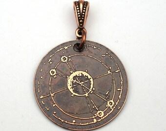 Copper galaxy pendant, planetary diagram jewelry, 28mm