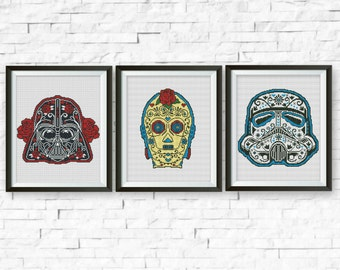 Set, Star Wars Cross Stitch Pattern, Darth Vader, C3PO, Storm Trooper, StarWars Sugar Skull Counted Cross Stitch Chart, PDF Instant Download